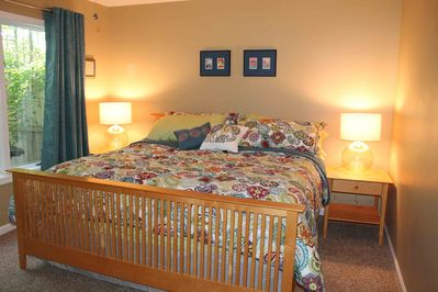 King-bedded plush pillow top offers a night of luxurious sleeping! Lower level.