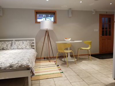 Queen size bed and dining table
