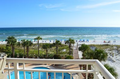Balcony view from Destin Towers 43! So close to the pool and beach!