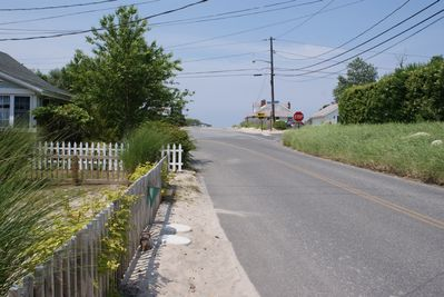 Looking north towards the beach at the end of the road-100ft!