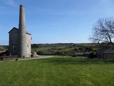 View across valley, cottages on right. (Engine House not for holiday rental)