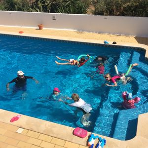 The large, heated pool is lots of family fun !