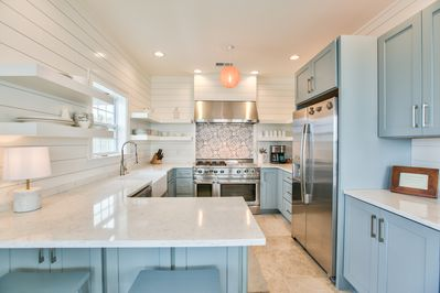 beautiful kitchen with open shelving