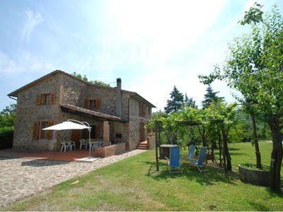 Photo for Independent holiday house surrounded by a wide fenced garden  with pool , located in the Tuscan coun