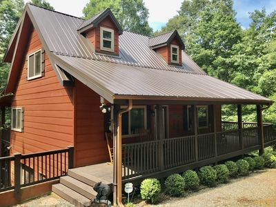 Photo for Clean, Private Mountain Cabin Retreat w Hot Tub & Rocking Chair Covered Porches