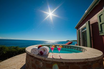 Enjoy soaking in this plunge pool while taking in the amazing ocean view.