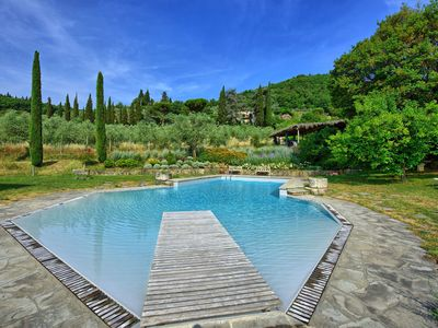 Photo for Apartment with pool, WIFI, washing machine, panoramic view, parking, close to Greve In Chianti