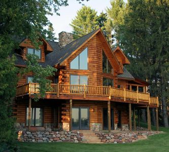 Reese's Retreat, 3 story luxury log and glass home on Waupaca WI Chain'O lakes.