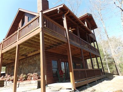 side angle view of front of cabin