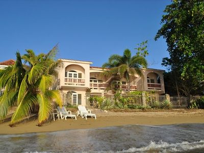 Luxury villa directly on Corcega Beach in Rincon, Puerto Rico. Very relaxing.