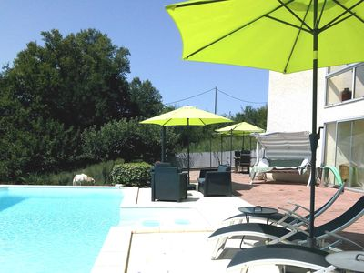 Photo for Contemporary Spacious Poolside Apartment, PRIVATE POOL, enclosed garden