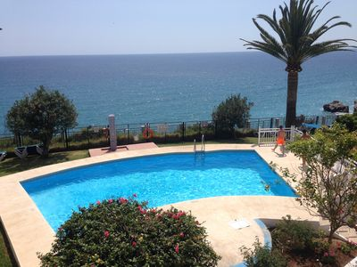 Photo for First line, sea view from terrace, pool, garden, city central & 15m to beach!