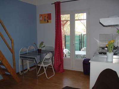 Photo for Studio 4 pers ground floor, large garden terrace close to the sea and shops