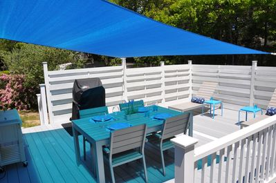 Upper deck shading for enjoyable dining; lower deck for sunning