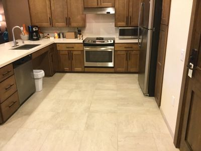 This kitchen is quite large