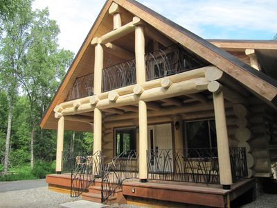 Photo for Spectacular Custom Log Cabin - Sleeps 7, Downtown Area