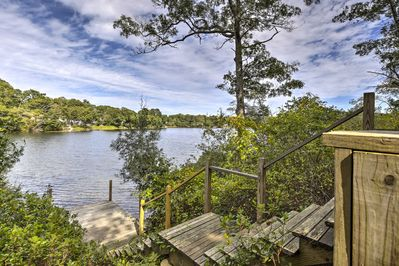 This vacation rental home boasts a private dock just steps from the house!