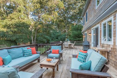 Lovely outdoor seating accommodates family and friends.