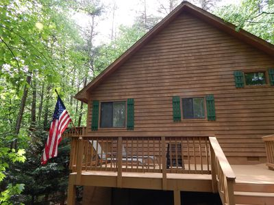 Photo for Perfect for couples! Charming secluded cabin. Hot Tub & WiFi
