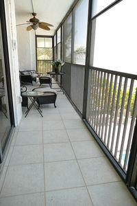 Balcony spans from master bedroom to living room