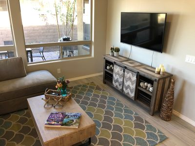 "Great Room features 55"" Smart 4KTV, wifi, cable"