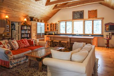 The Greatest Great Room EVER! Cozy Sofas, Library, Chefs Kitchen! VIEWS abound!
