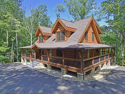 Photo for NEW Luxurious 4 Bedroom Log Cabin, Copper Soaking Tub, Pool Table