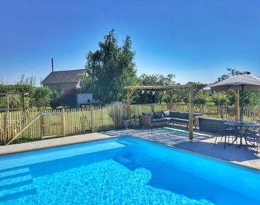 Swimming pool and one bedroom Chalet behind