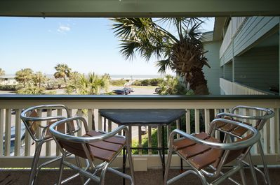 Large balcony over looking the ocean, pool & pier