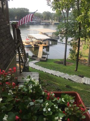 View of dock from side porch entry.