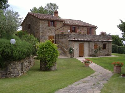 Photo for Stone farmhouse on the border between Umbria and Tuscany. Large outdoor area, covered and heatable p