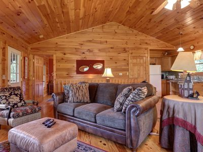 Photo for Dog-friendly mountainside cabin w/hot tub, fireplace & pool table