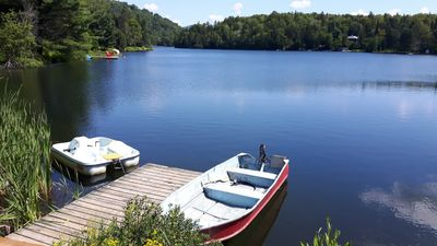 Photo for Splendid Lakefront Chalet near Mont-Tremblant Wifi Spa Ski View Boats Fireplace & more !