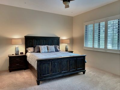 "The master bedroom has a king size bed, and 43"" Samsung smart HDTV and Man Views"