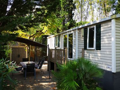 Photo for Mobilhome 3 bedrooms in 5 * campsite with river shuttle to the beach