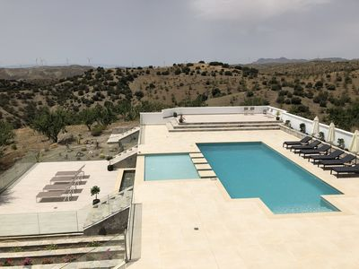 View from the roof terrace to the pool