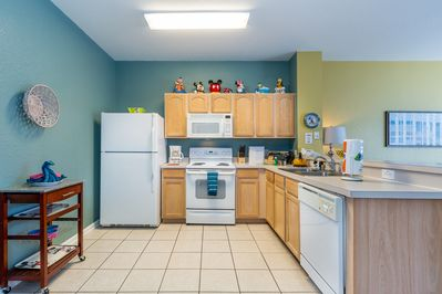 The kitchen is fully stocked, including kid-friendly dishes and cups!