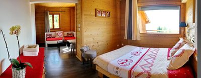 Photo for A beautiful room of 4 in a cozy chalet. Private bathroom.