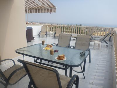 Photo for Beautiful Apartment In Peyia,own hot tub,Free Wifi,large sunny balcony,sea views