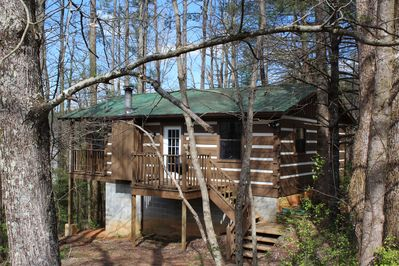 Treehouse cabin is literally nestled in the trees! Cozy and secluded.
