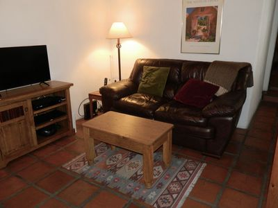 Television and seating in living room