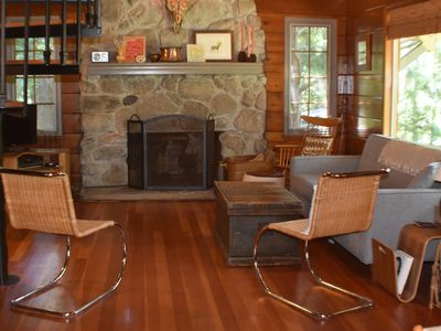 Photo for Quiet and woodsy 2 bed 2 bath modern cabin, 8 min walk to private beach.