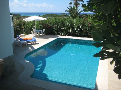 Photo for Villa near beach with sea view, large terrace, garden private pool, AC all Rooms