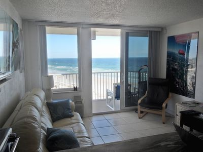 Photo for ON BEACH daytona fall, WINTER rental, very PRIVATE  Top floor end unit privatelo