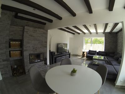 Photo for Luxury holiday home in the Lüneburg Heath with fireplace and pool table