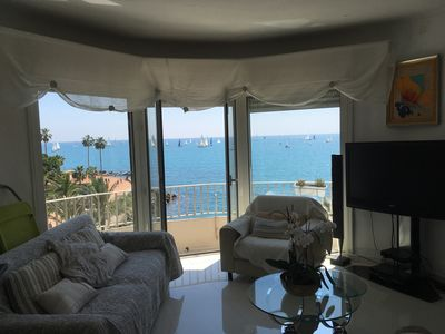 Photo for Superb sea view and cap d Antibes, kitchen open to living room, 2 bedrooms.