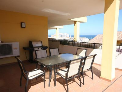 Photo for Stunning apartment with sea views & huge terrace, 300m from Estepona port and 400m from the beach