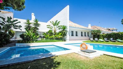 Photo for ELEGANT 4 BEDROOM VILLA 34121802 IN A CLOSED RESORT, 2nd LINE BEACH WITH 2 PRIVATE POOLS, PUERTO BANUS MARBELLA