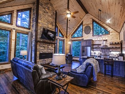 Photo for Brand New Honeymoon Cabin! Hot tub, 2 Fireplaces with large shower