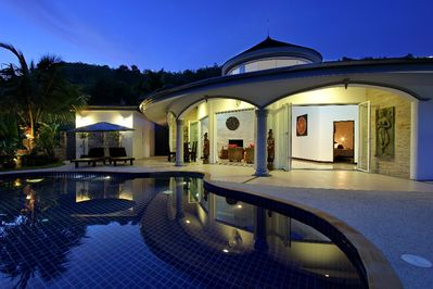 Front view of your villa at sunset